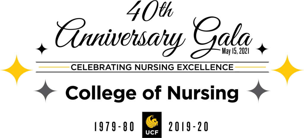40th Anniversary Logo, UCF College of Nursing Celebrating Nursing Excellence 1979-2019