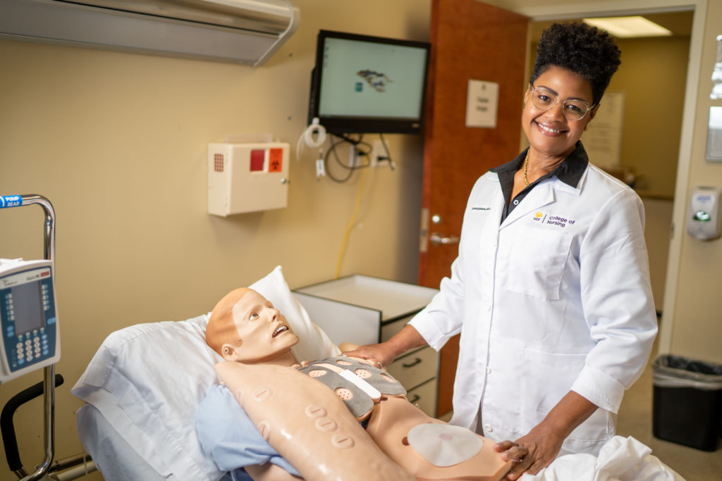 Syretta Spears in the UCF College of Nursing Simulation Suite