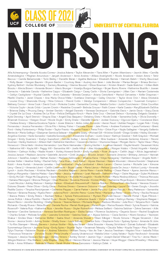 UCF College of Nursing Spring Class of 2021 poster