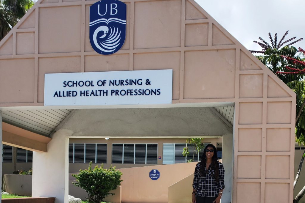 Jascinth Lindo, U.S. Fulbright Scholar and associate professor at UCF College of Nursing, in front of the University of the Bahamas